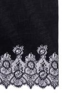 Floral lace trim plissé pleat cashmere scarf