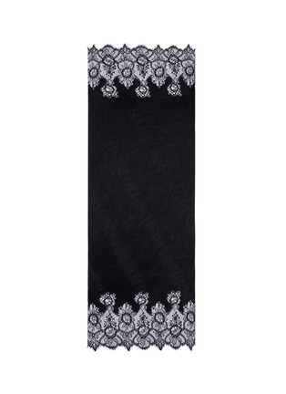 Main View - Click To Enlarge - Valentino - Floral lace trim plissé pleat cashmere scarf