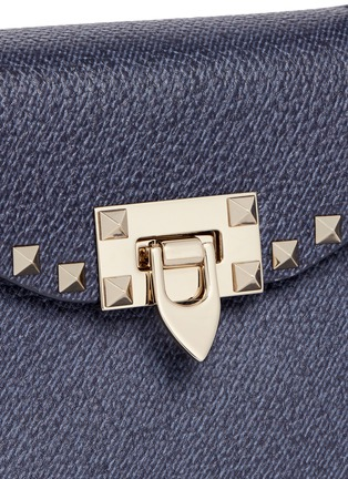 Detail View - Click To Enlarge - Valentino - 'Rockstud' small denim effect leather satchel