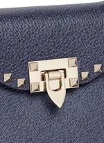 'Rockstud' small denim effect leather satchel