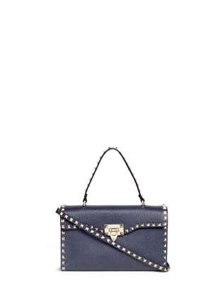 Main View - Click To Enlarge - Valentino - 'Rockstud' small denim effect leather satchel