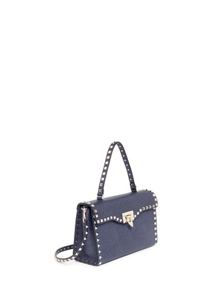 Figure View - Click To Enlarge - Valentino - 'Rockstud' small denim effect leather satchel