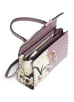 'Rockstud' floral print patch leather satchel