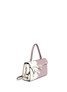 VALENTINO 'Rockstud' floral print patch leather satchel