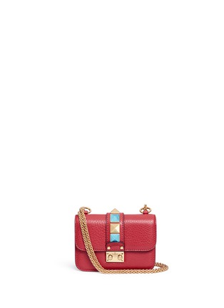 Main View - Click To Enlarge - Valentino - 'Rockstud Rolling Lock' mini leather chain shoulder bag