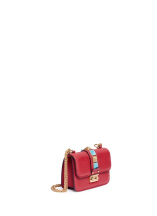 Figure View - Click To Enlarge - Valentino - 'Rockstud Rolling Lock' mini leather chain shoulder bag