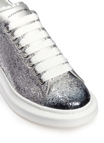 Chunky outsole coarse glitter metallic leather sneakers