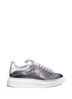 ALEXANDER MCQUEEN Chunky outsole coarse glitter metallic leather sneakers