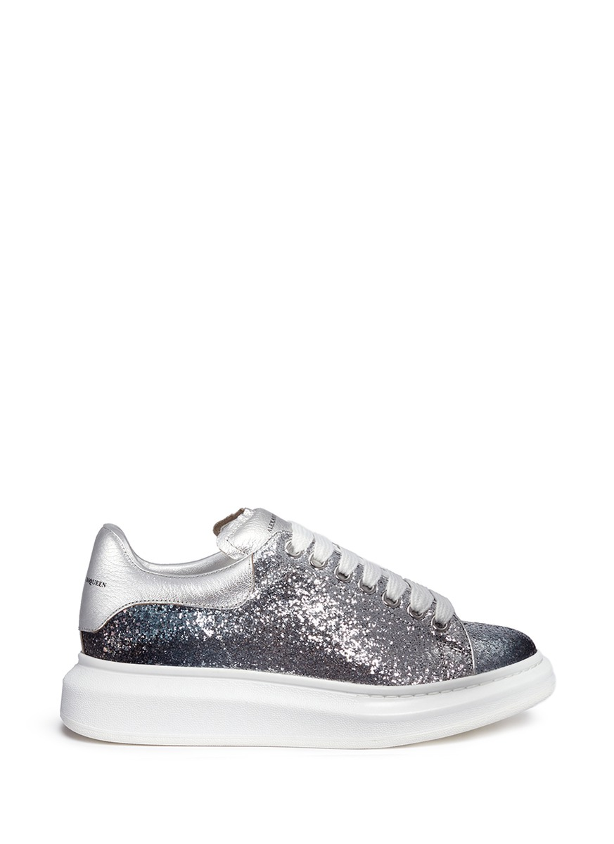Chunky outsole coarse glitter metallic leather sneakers by Alexander McQueen