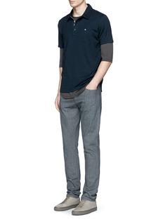 rag & bone'Standard Issue' cotton blend jersey polo shirt