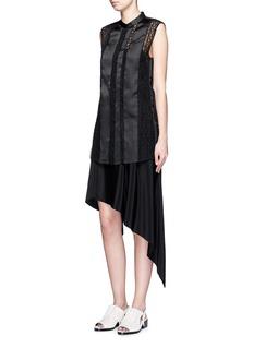 3.1 PHILLIP LIMSilk twill embroidered vest overlay dress