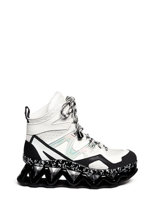 Main View - Click To Enlarge - Marc by Marc Jacobs - 'Ninja' zigzag rubber platform leather sneakers