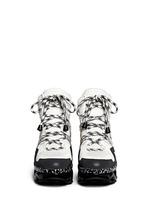 'Ninja' zigzag rubber platform leather sneakers