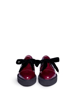 MARC BY MARC JACOBS 'Kent' velvet tie platform leather creepers