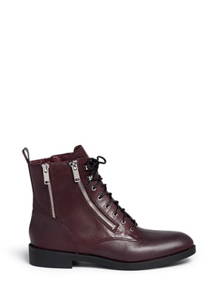 Main View - Click To Enlarge - Marc by Marc Jacobs - 'Montague' multi zip lace-up ankle boots