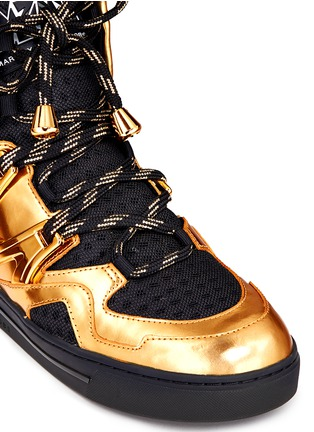 Detail View - Click To Enlarge - MARC BY MARC JACOBS SHOES - 'Ninja' metallic leather mesh high top sneakers