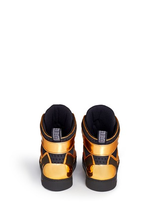 Back View - Click To Enlarge - MARC BY MARC JACOBS SHOES - 'Ninja' metallic leather mesh high top sneakers