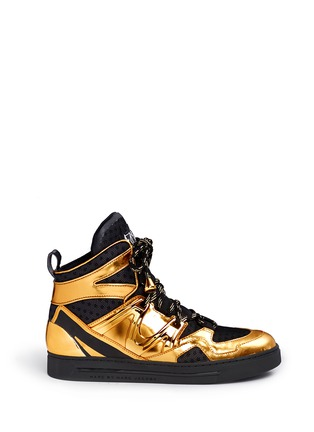 Main View - Click To Enlarge - MARC BY MARC JACOBS SHOES - 'Ninja' metallic leather mesh high top sneakers
