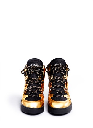Figure View - Click To Enlarge - MARC BY MARC JACOBS SHOES - 'Ninja' metallic leather mesh high top sneakers