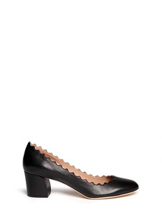 CHLOÉ Curve heel scalloped edge leather pumps