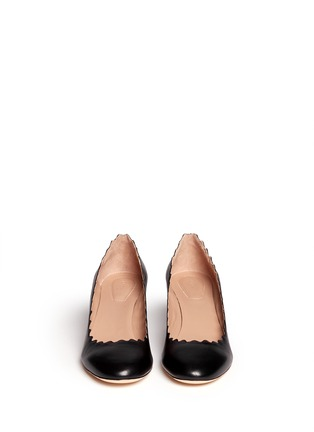 Figure View - Click To Enlarge - Chloé - Curve heel scalloped edge leather pumps