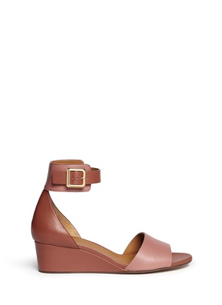 Main View - Click To Enlarge - Chloé - Ankle strap leather wedge sandals