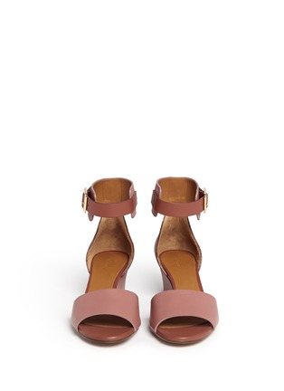 Figure View - Click To Enlarge - Chloé - Ankle strap leather wedge sandals