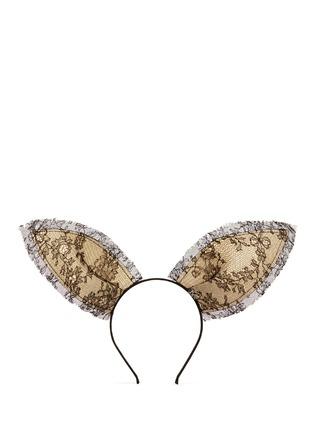Main View - Click To Enlarge - Maison Michel - 'Heidi' lace straw rabbit ear headband
