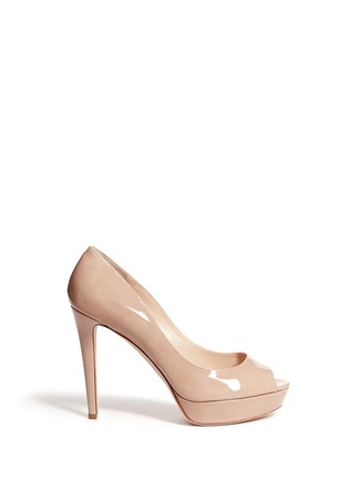 Main View - Click To Enlarge - Jimmy Choo - 'Dahlia' peep toe patent leather platform pumps