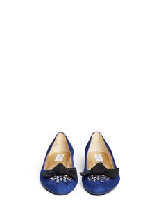 JIMMY CHOO 'Whitney' crystal grosgrain bow suede flats