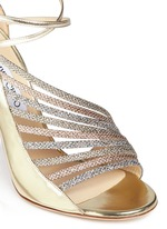 'Fabris' glitter lamé trim mirror leather sandals