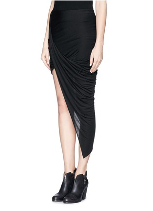 Front View - Click To Enlarge - Helmut Lang - Asymmetric wrap jersey skirt