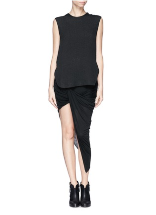 Figure View - Click To Enlarge - Helmut Lang - Asymmetric wrap jersey skirt
