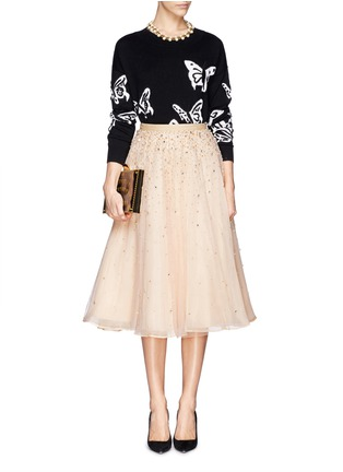 Figure View - Click To Enlarge - alice + olivia - 'Rina' strass bead tulle skirt