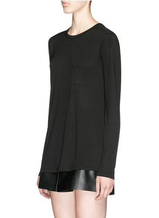 Front View - Click To Enlarge - T By Alexander Wang - Patch chest pocket long sleeve T-shirt