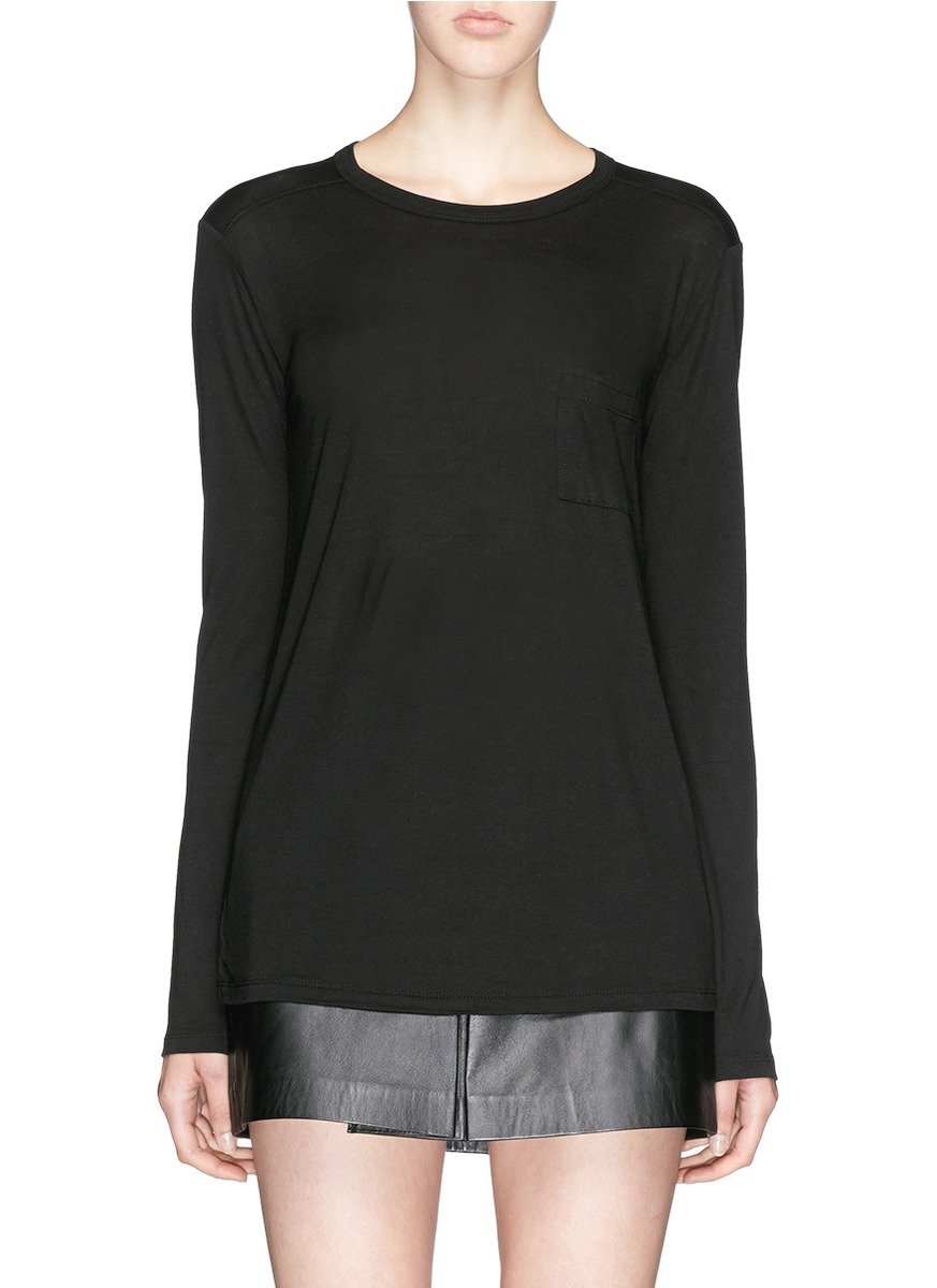 Patch chest pocket long sleeve T-shirt by T By Alexander Wang