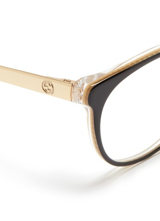 Detail View - Click To Enlarge - Gucci - Metal arm acetate frame optical glasses