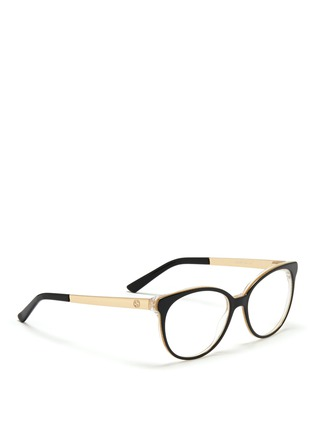 Figure View - Click To Enlarge - Gucci - Metal arm acetate frame optical glasses