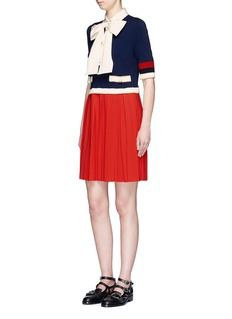 Gucci Bow neck pleated skirt jersey dress