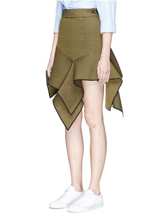Front View - Click To Enlarge - Jinnnn - Asymmetric drape waffle effect skirt