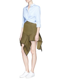 JinnnnAsymmetric drape waffle effect skirt