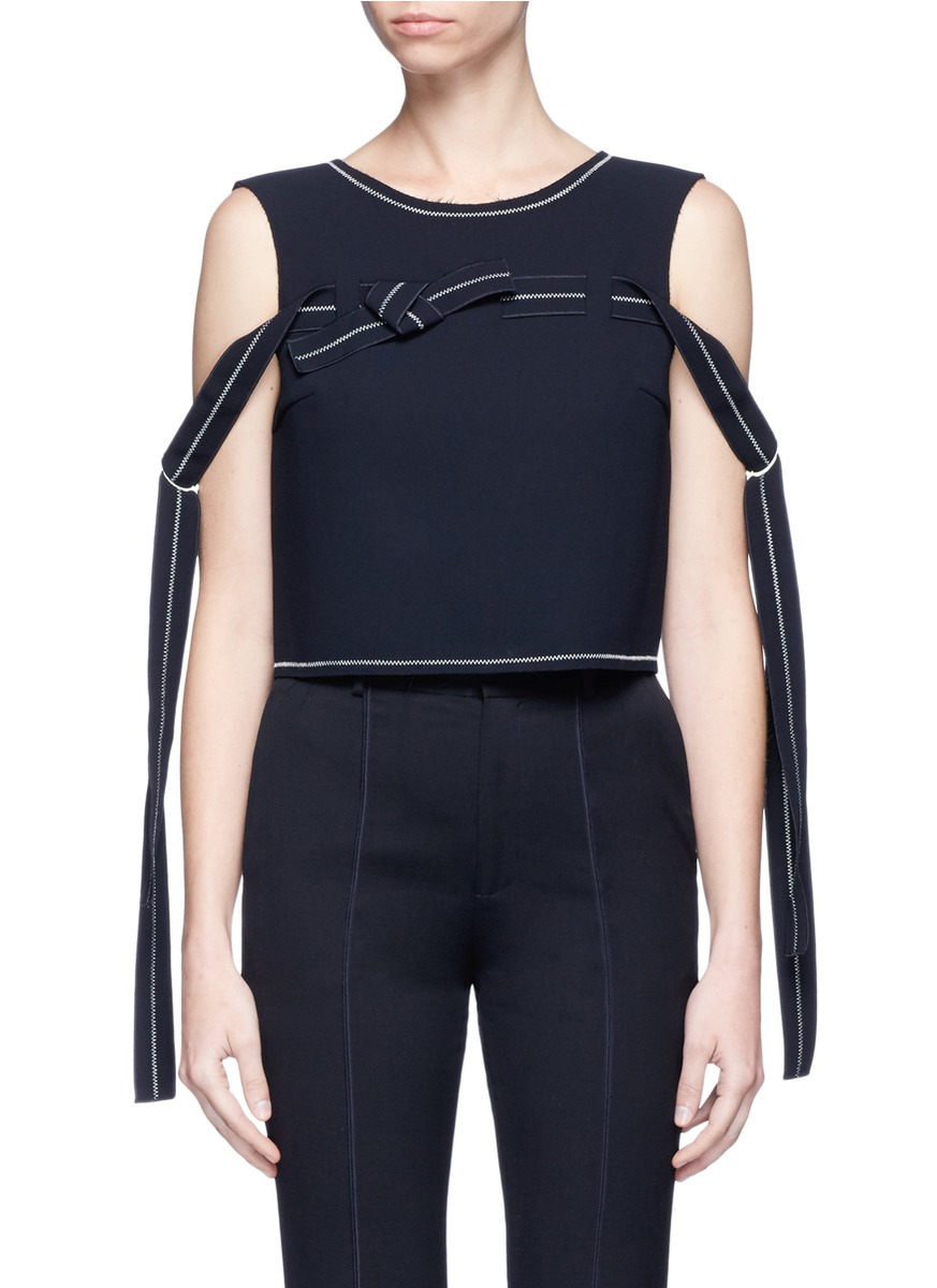 Ribbon trim sleeveless crepe top by Comme Moi