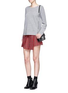 TopshopTartan plaid pleated mini wrap skirt
