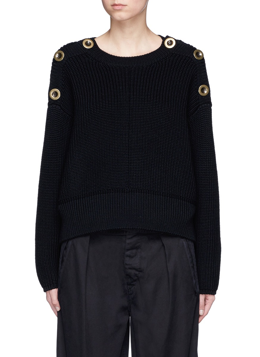 Button shoulder chunky virgin wool sweater by Chloé