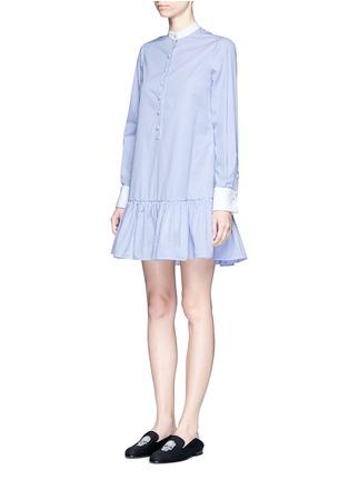 Front View - Click To Enlarge - Alexander McQueen - Peplum hem stripe poplin shirt dress