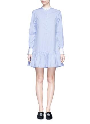 Main View - Click To Enlarge - Alexander McQueen - Peplum hem stripe poplin shirt dress