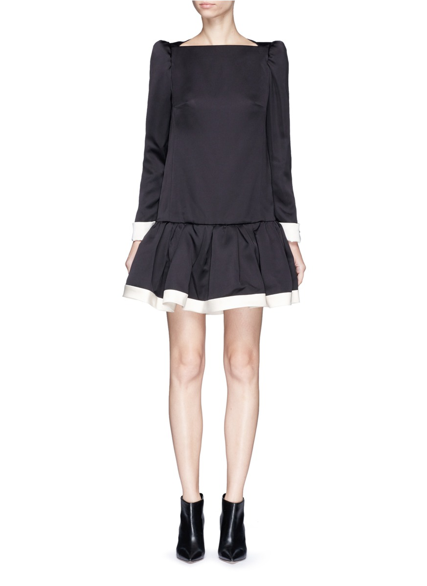 marc jacobs female ruffle skirt peaked shoulder drop waist dress