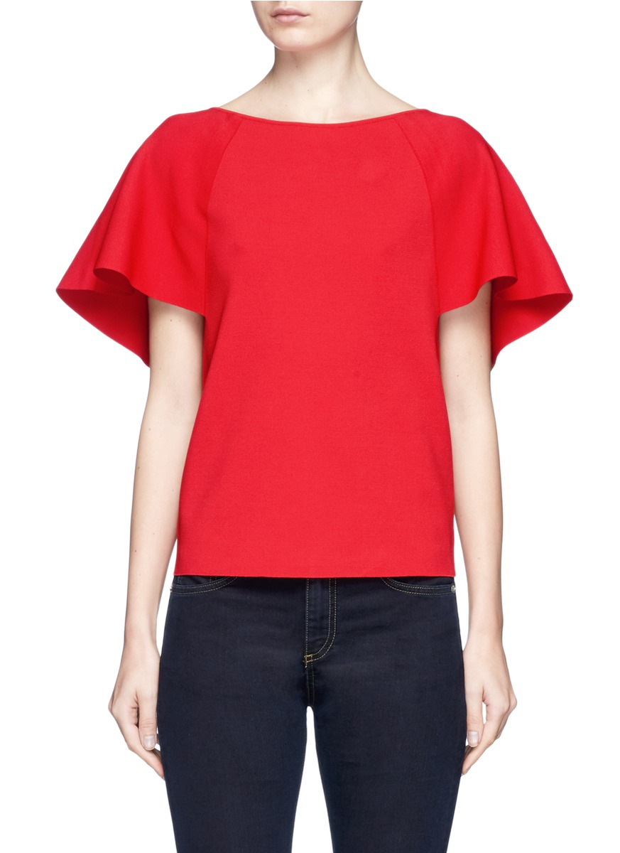 Flared sleeve ponte knit top by Valentino