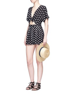 Mara Hoffman Polka dot embroidered tie front rompers