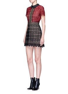 self-portrait 'Militaire' floral crochet lace mini dress